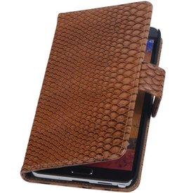 iHoez.nl Snake Samsung Galaxy Note 2 Boekhoesje Bruin