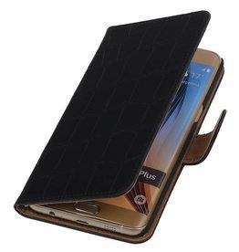 iHoez.nl Krokodil Samsung Galaxy S6 edge Plus Boekhoesje Zwart
