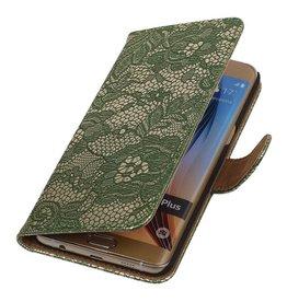 iHoez.nl Lace Samsung Galaxy S6 edge Plus Boekhoesje Donker Groen