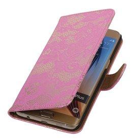 iHoez.nl Lace Samsung Galaxy S6 edge Plus Boekhoesje Roze