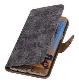 iHoez.nl Lizard Samsung Galaxy S6 edge Plus Boekhoesje Grijs