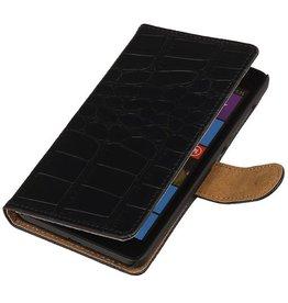 iHoez.nl Croco Microsoft Lumia 535 Zwart Boekhoesje