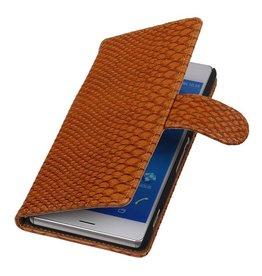 iHoez.nl Snake Sony Xperia Z3 Bruin Boekhoesje