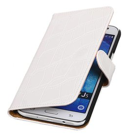 iHoez.nl Croco Samsung Galaxy J5 Wit Boekhoesje