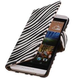 iHoez.nl Zebra HTC Desire 526 Wit Boekhoesje