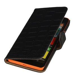 iHoez.nl Croco Microsoft Lumia 640 XL Zwart Boekhoesje