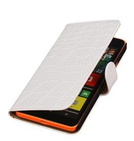 iHoez.nl Croco Microsoft Lumia 640 XL Wit Boekhoesje