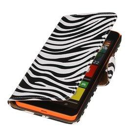 iHoez.nl Zebra Microsoft Lumia 640 XL Wit Boekhoesje