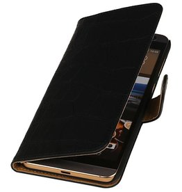 iHoez.nl Croco HTC One M9 Plus Zwart Boekhoesje
