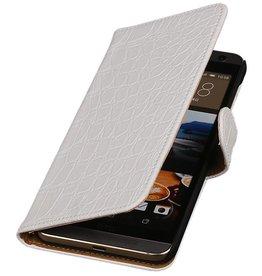iHoez.nl Croco HTC One M9 Plus Wit Boekhoesje