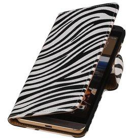 iHoez.nl Zebra HTC One M9 Plus Wit Boekhoesje