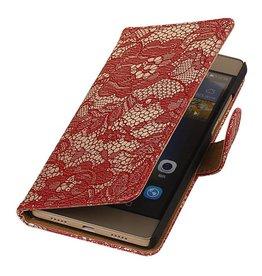 iHoez.nl Lace Huawei P8 Lite Rood Boekhoesje