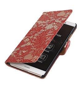 iHoez.nl Lace Huawei P8 Max Rood Boekhoesje