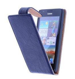 iHoez.nl HTC One M8 Echt Leer - Donker Blauw Classic Flip Hoesje