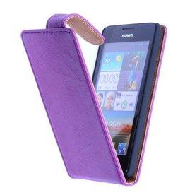 iHoez.nl HTC One Echt Leer - Lila Classic Flip Hoesje