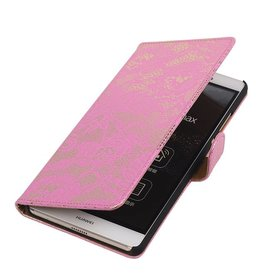 iHoez.nl Lace Sony Xperia Z4 Compact Roze Boekhoesje