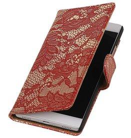 iHoez.nl Lace Huawei P8 hoesje Boek Classic Rood