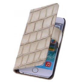 iHoez.nl Croco iPhone 6 Plus hoesje boek Classic Beige
