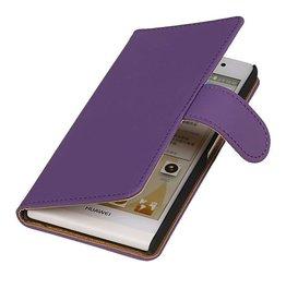 iHoez.nl Huawei P6 hoesje Paars Boek Classic