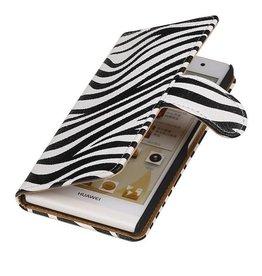 iHoez.nl Zebra Huawei P6 hoesje Boek Wit