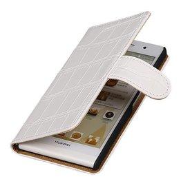 iHoez.nl Croco Huawei P6 hoesje Boek Wit
