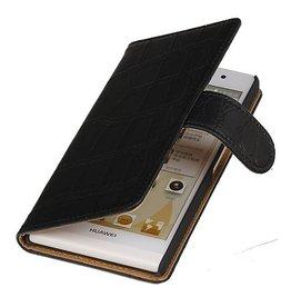 iHoez.nl Croco Huawei P6 hoesje Boek Zwart