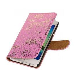 iHoez.nl Lace Samsung Galaxy A3 Boekhoesje Roze