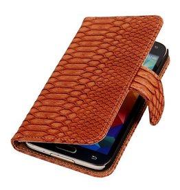iHoez.nl Snake Bookstyle Samsung S5 hoesje Bruin