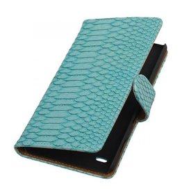 iHoez.nl Snake Sony Xperia C4 Turquoise Boekhoesje
