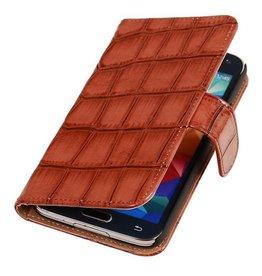 iHoez.nl Glans Croco Bookstyle Samsung S4 hoesje Bruin