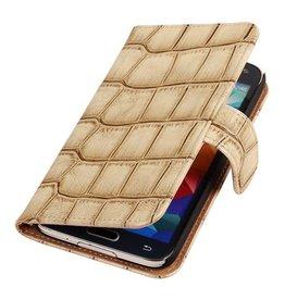 iHoez.nl Glans Croco Bookstyle Samsung S4 hoesje Beige