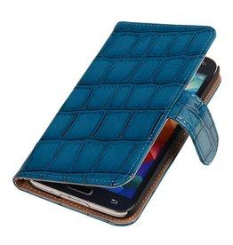 iHoez.nl Glans Croco Samsung S4 Mini hoesje Blauw