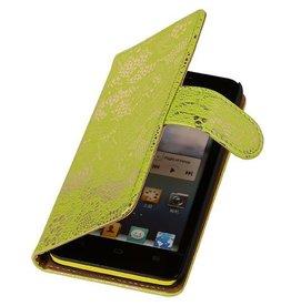 iHoez.nl Lace  Huawei Ascend G610 Boekhoesje Licht Groen
