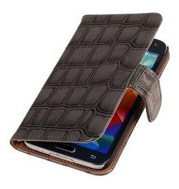 iHoez.nl Glans Croco Samsung Note 4 hoesje Grijs