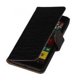 iHoez.nl Croco Microsoft Lumia 640 Boekhoesje Zwart