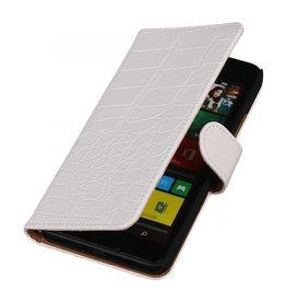 iHoez.nl Croco Microsoft Lumia 640 Boekhoesje Wit