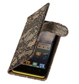 iHoez.nl Lace Huawei Ascend G510 Boekhoesje Zwart
