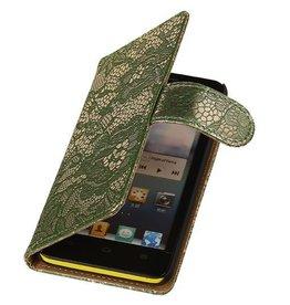 iHoez.nl Lace Huawei Ascend Y300 Boekhoesje Donker Groen