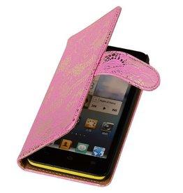 iHoez.nl Lace Huawei Ascend Y300 Boekhoesje Roze