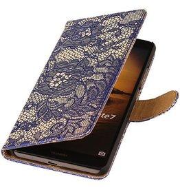 iHoez.nl Lace Huawei Ascend Mate 7 Boekhoesje Blauw