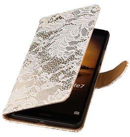 iHoez.nl Lace Huawei Ascend Mate 7 Boekhoesje Wit