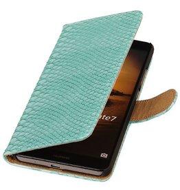iHoez.nl Snake Huawei Ascend Mate 7 Boekhoesje Turquoise