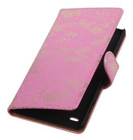 iHoez.nl Lace Booktype Hoes voor Sony Xperia Z5 Compact Roze