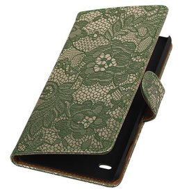 iHoez.nl Lace Booktype Hoes voor Sony Xperia Z5 Compact Donker groen