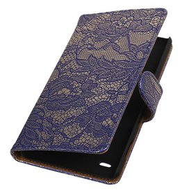 iHoez.nl Lace Booktype Hoes voor Sony Xperia Z5 Compact Blauw