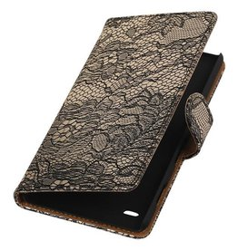 iHoez.nl Lace Booktype Hoes voor Sony Xperia Z5 Compact Zwart