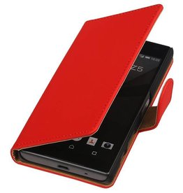 iHoez.nl Effen Booktype Hoes voor Sony Xperia Z5 Compact Rood