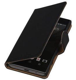 iHoez.nl Effen Booktype Hoes voor Sony Xperia Z5 Compact Zwart