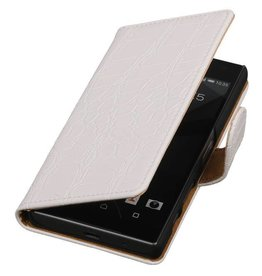 iHoez.nl Croco Booktype Hoes voor Sony Xperia Z5 Compact Wit