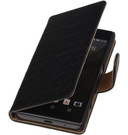 iHoez.nl Croco Booktype Hoes voor Sony Xperia Z5 Compact Zwart